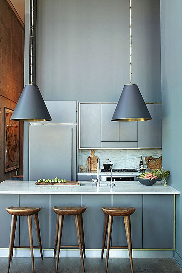 Gray kitchen with gold details