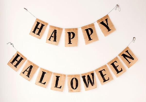 Halloween burlap bunting banner 19 Homemade Halloween Decorations for a Festive Celebration
