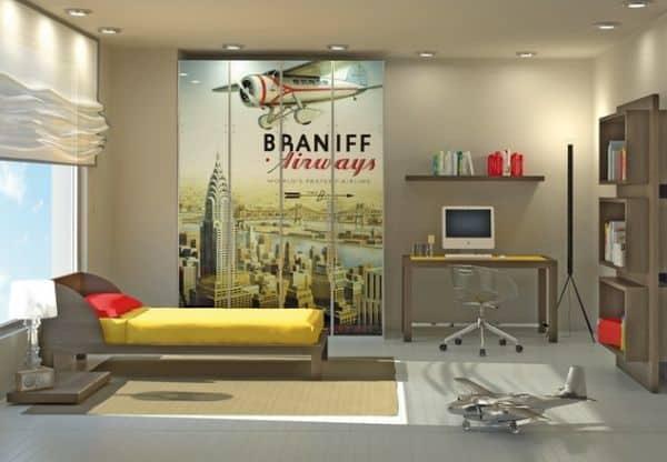 Contemporary boys' bedroom features an elegant color scheme