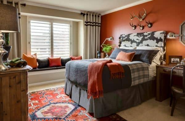 Refined teen bedroom with a splash of orange