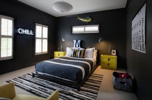 Trendy teen room with uber-cool dark walls